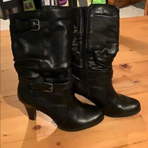 """Black """"leather"""" mid-calf boots with heel"""